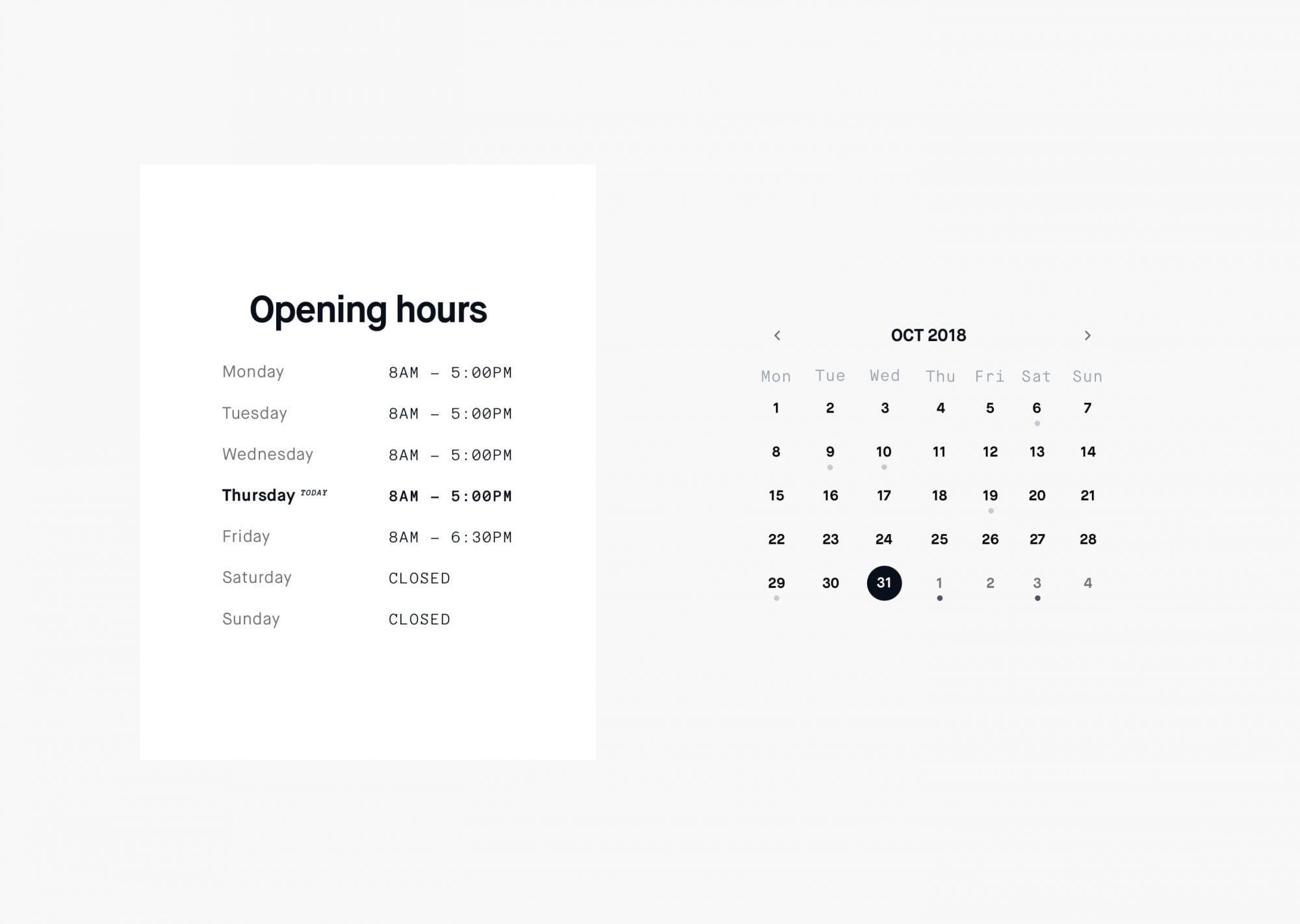 open hours & calendar
